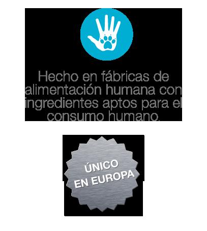 Hecho en fábricas de alimentación humana con ingredientes aptos para el consumo humano. Único en europa..